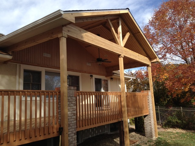 Open porch with can lights ceiling fan traditional Open porches