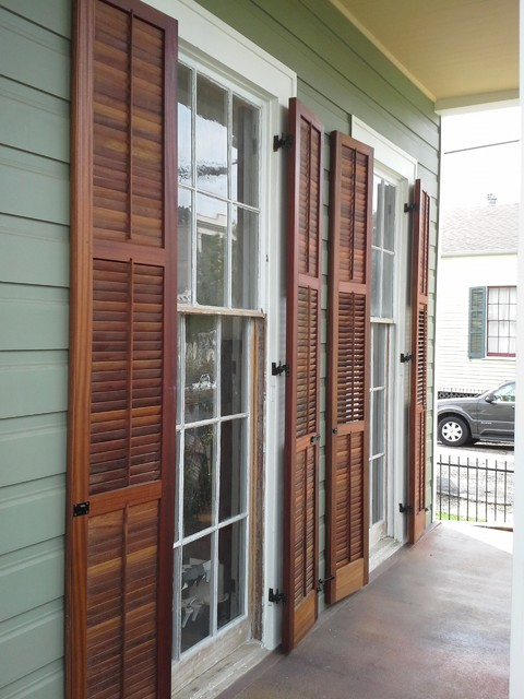 Operable Louvered Exterior Shutters American Traditional Veranda New Orleans By Kestrel Shutters Doors