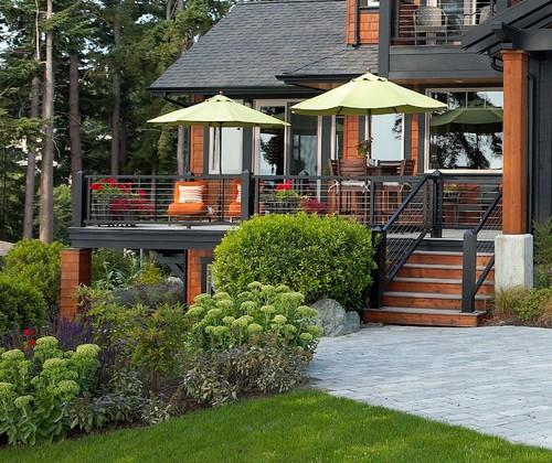 Modern Or Rustic Front Landscape Design: Modern Deck Railing