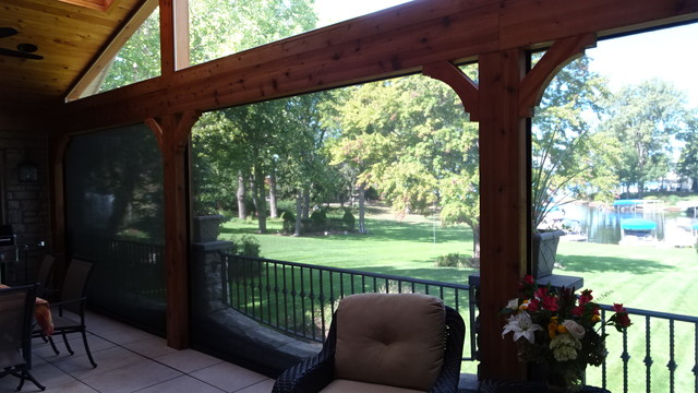 Orchard Lake Home Motorized Screens Craftsman Porch: motorized porch screens
