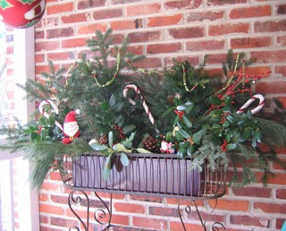 Outdoor Christmas Floral Arrangment Eclectic Porch
