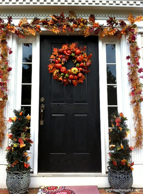 Outdoor Decorating Ideas For Fall Traditional Porch