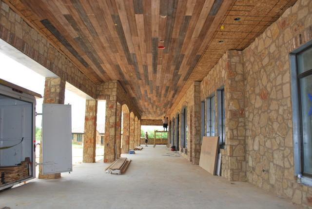 Outdoor Distressed Wood Planking Mediterranean Porch