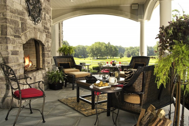 Outdoor Fireplace traditional-porch
