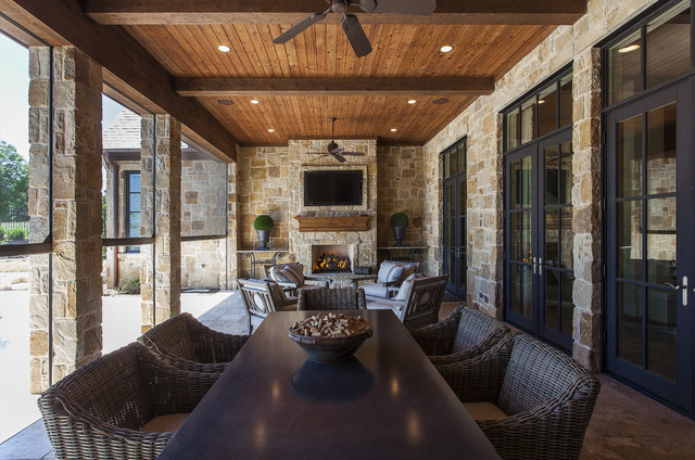 Outdoor Living Areas Pools Rustic Porch Dallas By