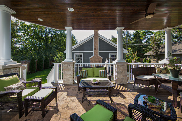 Outdoor Living Space With Covered Patio Fireplace Naperville Traditional Porch Chicago