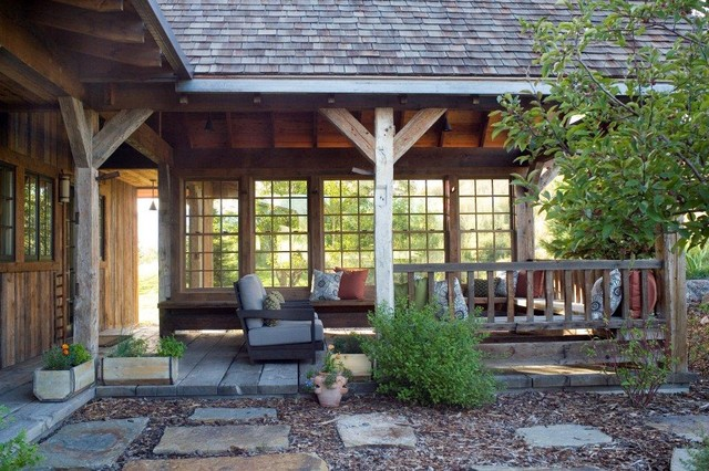 Outdoor Porch Rustic Porch By Carter Kay Interiors