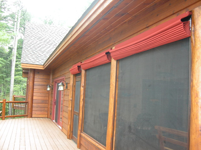 Outdoor Screen Porch Blinds - Rustic - Porch - Minneapolis - by ...
