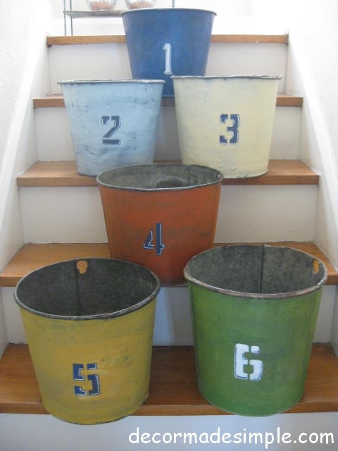 Painted Old Galvanized Buckets eclectic-porch