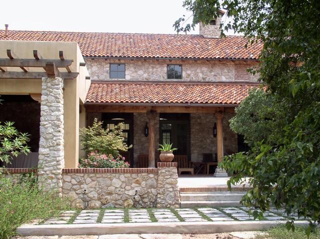 Partial rear elevation mediterranean porch austin for Mediterranean front porch designs