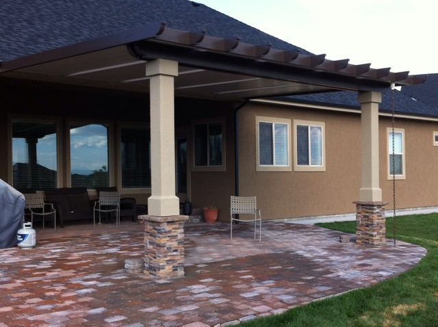 Patio covers rustic porch boise by shadeworks inc for Rustic covered decks