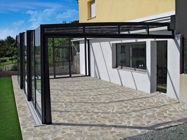 Patio enclosure corso glass modern porch other for Modern glass porch designs