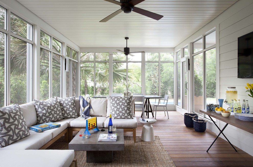 Elegant screened-in porch photo in Austin with decking and a roof extension