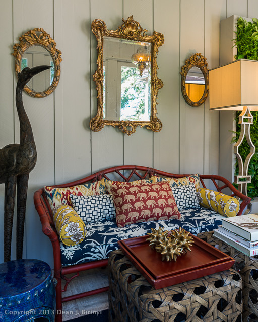 Peninsula volunteers Decorator Show House 2013:  Sun Room eclectic-porch