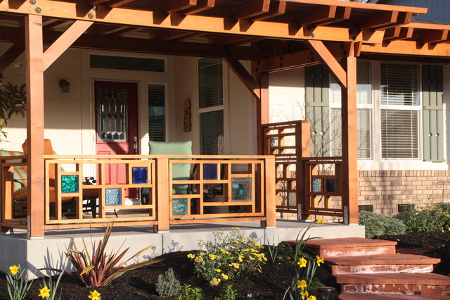 Pergola And Front Railing Using Colored Amp Glass Tile