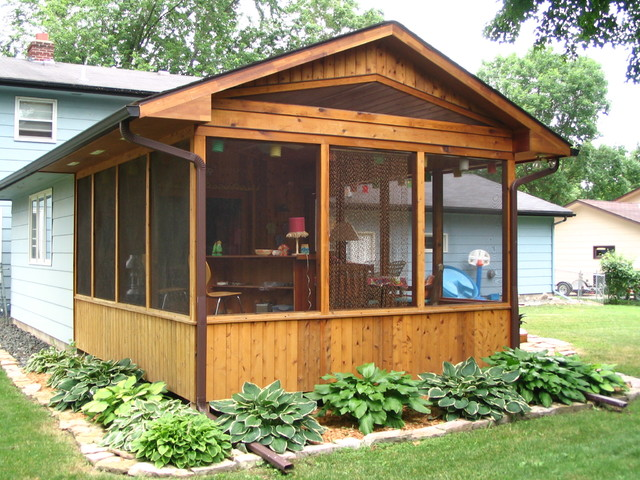 Porch additions rustic porch minneapolis by for Rustic shed with porch
