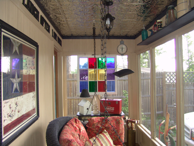porch ceiling accented with tin tiles rustic porch tampa by