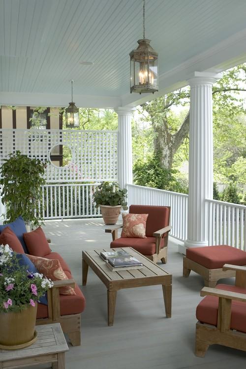 Front Porch Ceiling Progress (Plus, Haint Blue vs. White ...