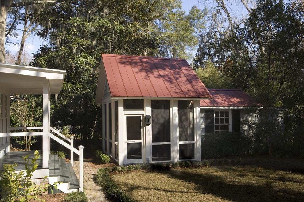 Mid-sized classic screened-in back porch idea in Atlanta