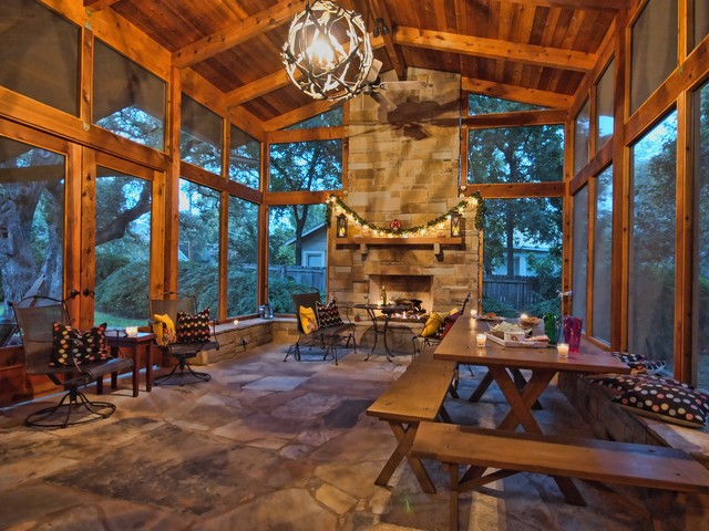 Porch rustic porch austin by kr kohlhaas design for Wood burning stove for screened porch