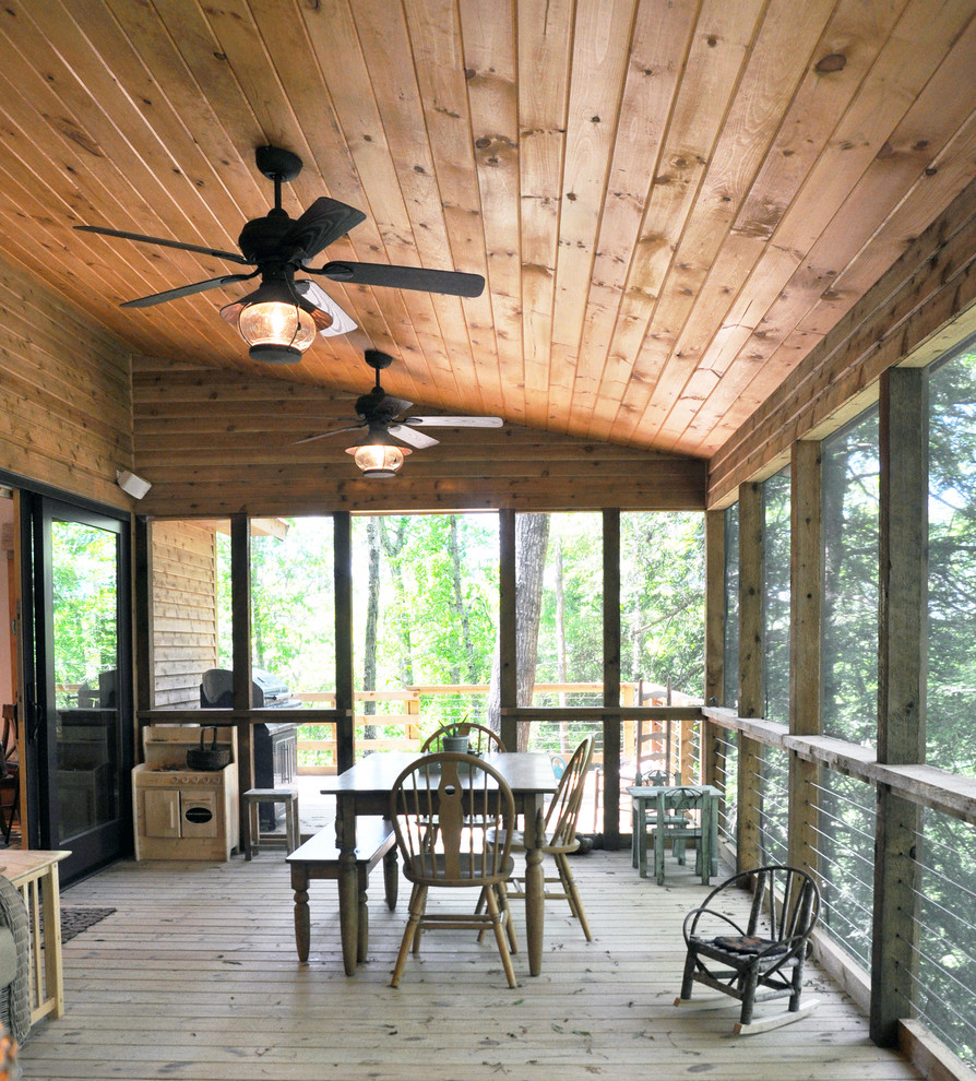 Mountain style screened-in porch idea in Louisville with decking