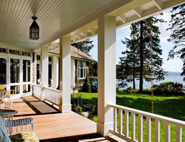 Porch beach style porch portland maine by whitten for Beach porch ideas