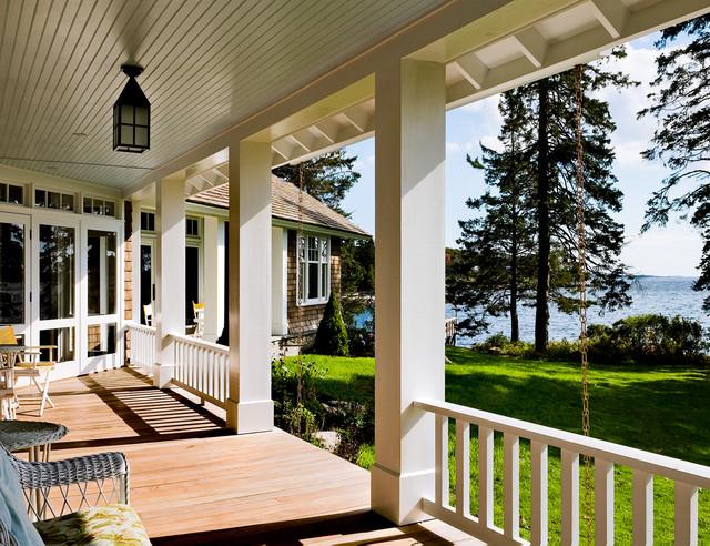 Porch beach style porch portland maine by whitten for Beach house deck ideas