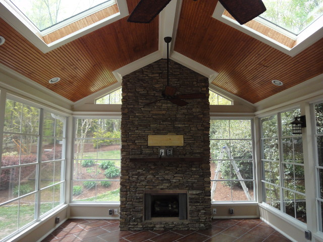 Raleigh Screen Porch With Fireplace Traditional