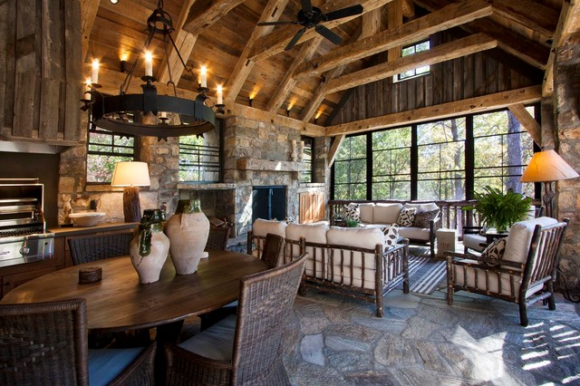 Reclaimed natural wonder rustic porch other metro for Outdoor great room ideas
