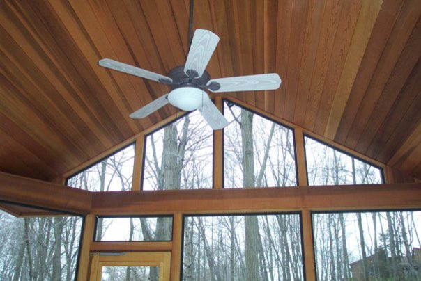 Red cedar screen porch with v-joint ceiling in Stamford, CT traditional-porch