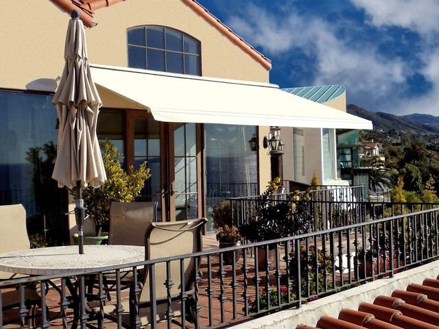 Retractable Awning Patio Cover Mediterranean Porch