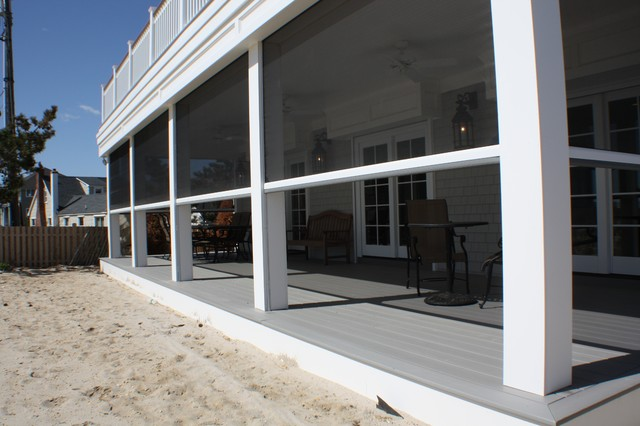 Retractable screens at beach front home mantaloking nj for Retractable outdoor screens