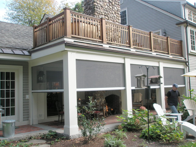 Retractable screens at classic new england farmhouse for Roll up screens for porches