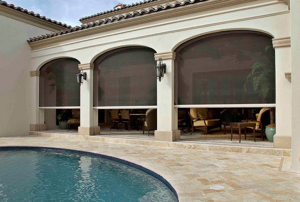 Retractable screens at the InSync Home, Baldwin Park, FL mediterranean pool
