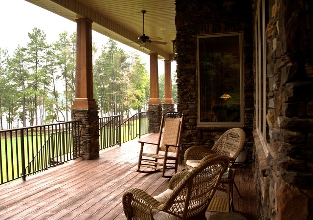 Mountain style porch photo in Charlotte with decking and a roof extensionFront Porch Columns   Houzz. Front Porch Columns Images. Home Design Ideas