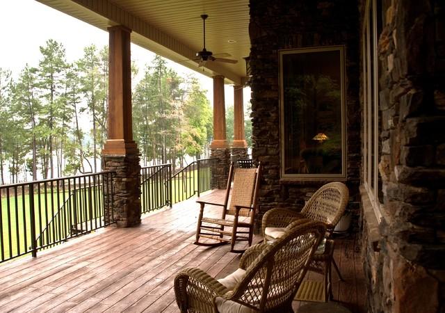 rinaldo lake house On rustic porch columns