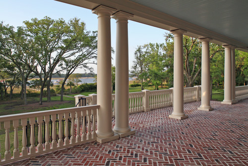 Riverview from gracious brick floored piazza traditional porch