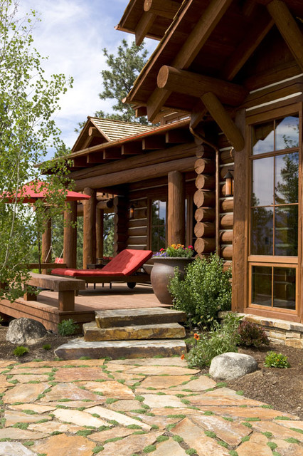 Rocky mountain log homes the tunken rustic porch for Rocky mountain home builders