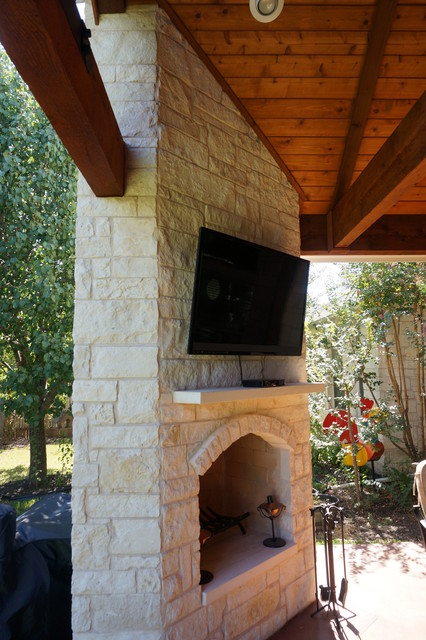 Round Rock Tx Covered Patio With Cozy Corner Fireplace