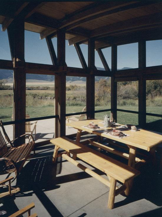 Rustic wood columns porch design ideas pictures remodel for Rustic porch columns