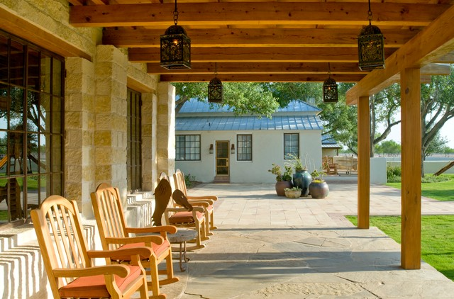 Rustic Hacienda Style Texas Ranch Southwestern Porch