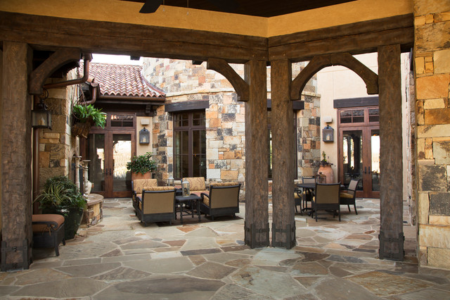 Rustic Lodge Style Home Porch Houston By