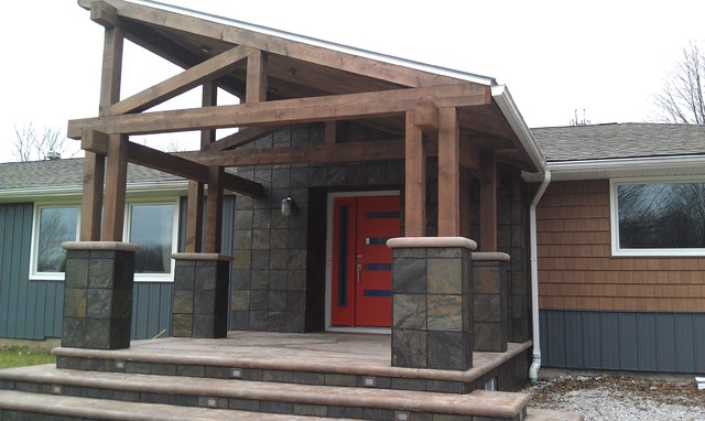 Rustic Modern Porch Addition And Exterior Remodel Contemporary Verandah Cleveland By