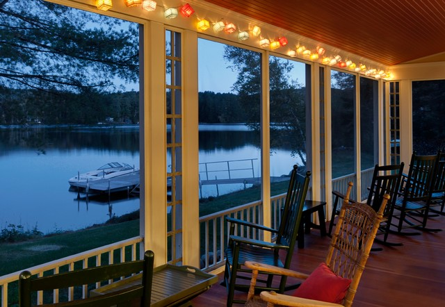 Summer lake house rustic porch burlington by smith vansant architects pc - How to use lights to decorate your patio ...