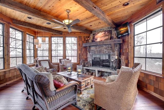 Rustic Three Season Room Traditional Porch