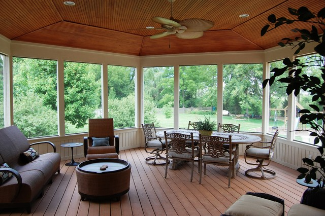 Screen Porch And Deck Addition Traditional Porch