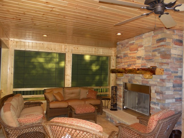 Screen porch blinds rustic porch other metro by for Screen porch window treatments