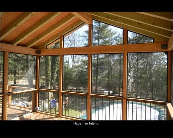 Screen Porch Ipe Floor Red Cedar Posts Ipe Rail In