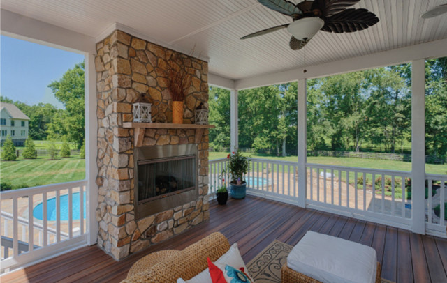screen porch overlooking pool outdoor kitchen traditional porch - Outdoor Screened Porches