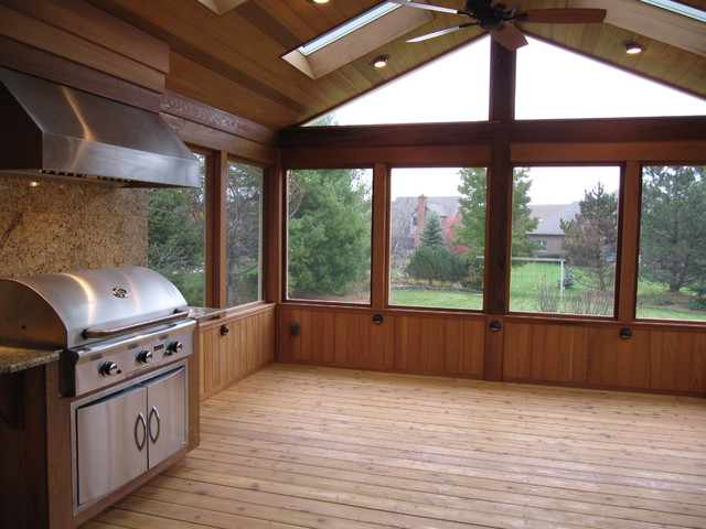 Screen Porch With Gas Grill Traditional Porch